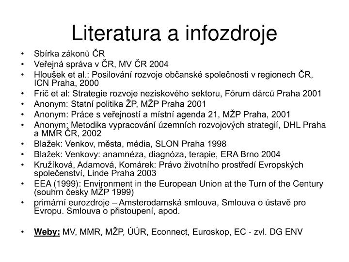 Literatura a infozdroje