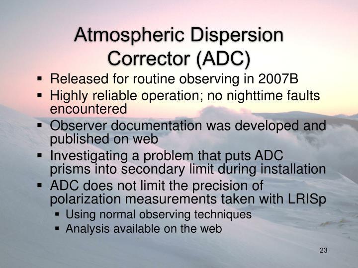 Atmospheric Dispersion Corrector (ADC)