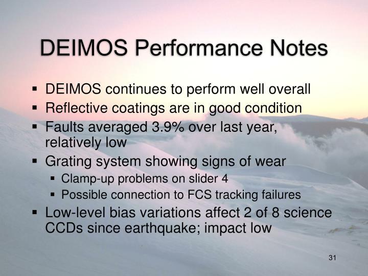 DEIMOS Performance Notes
