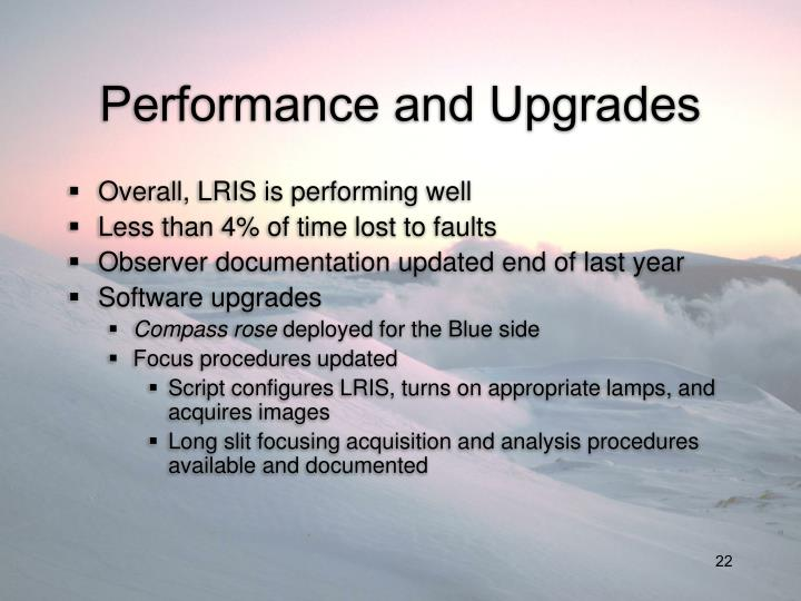 Performance and Upgrades