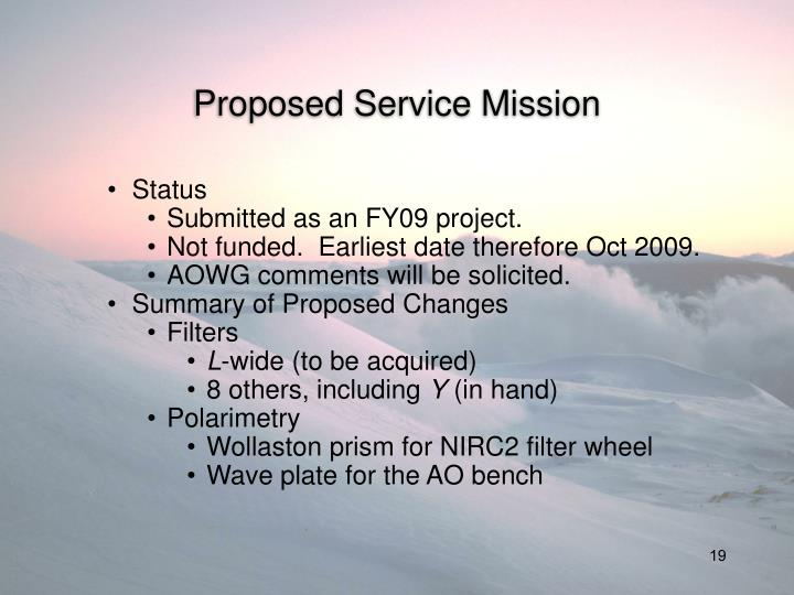 Proposed Service Mission