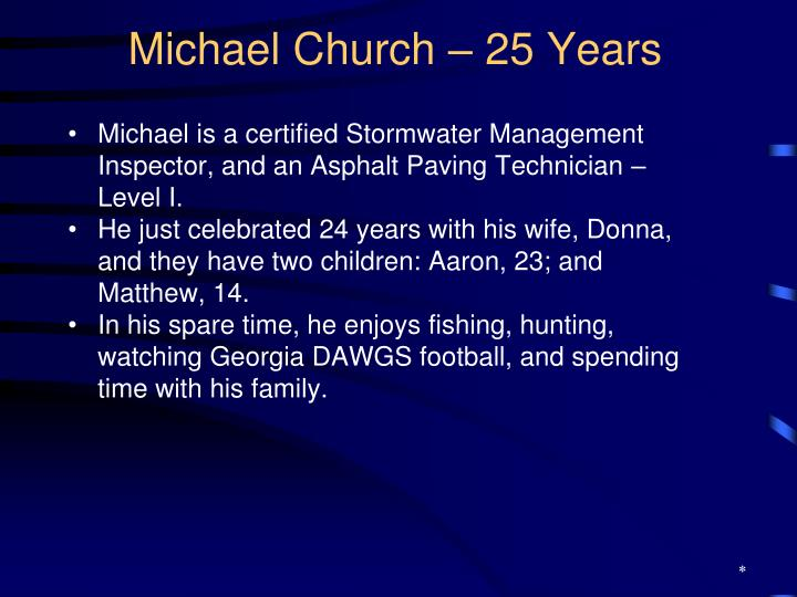 Michael Church – 25 Years