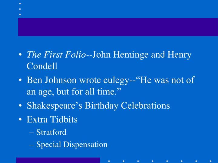 The First Folio-