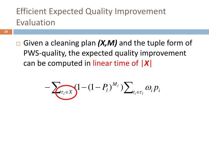 Efficient Expected Quality Improvement Evaluation