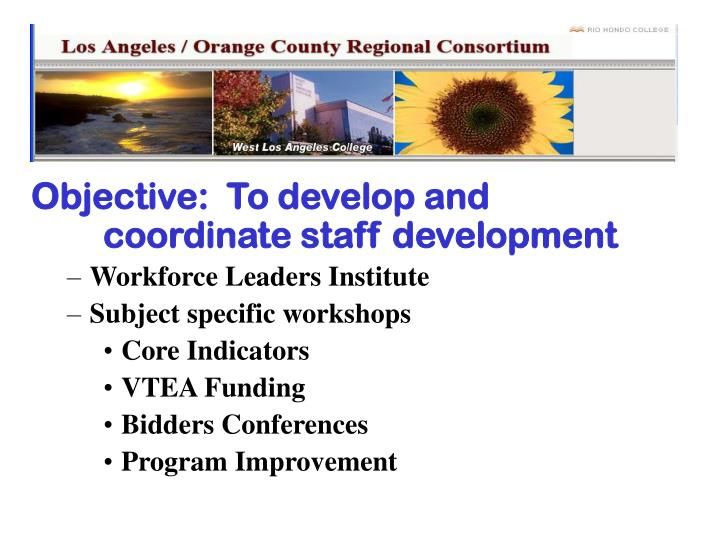 Objective:  To develop and coordinate staff development