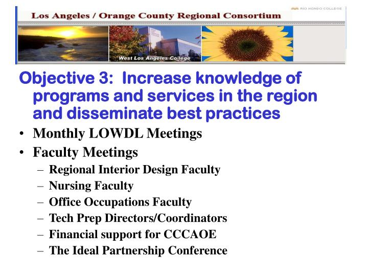 Objective 3:  Increase knowledge of programs and services in the region and disseminate best practices