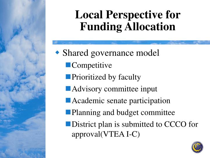 Local Perspective for Funding Allocation