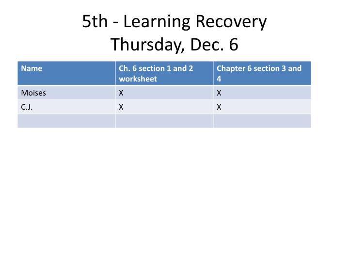 5th - Learning Recovery