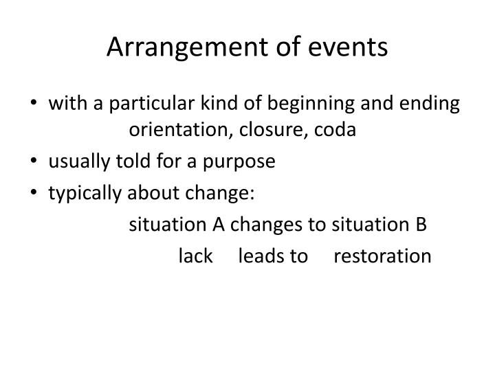 Arrangement of events