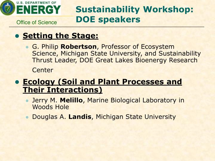 Sustainability Workshop: DOE speakers