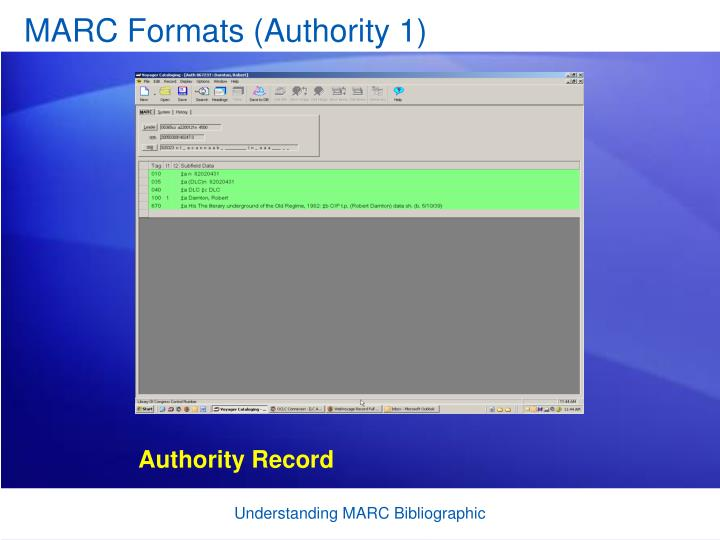 MARC Formats (Authority 1)