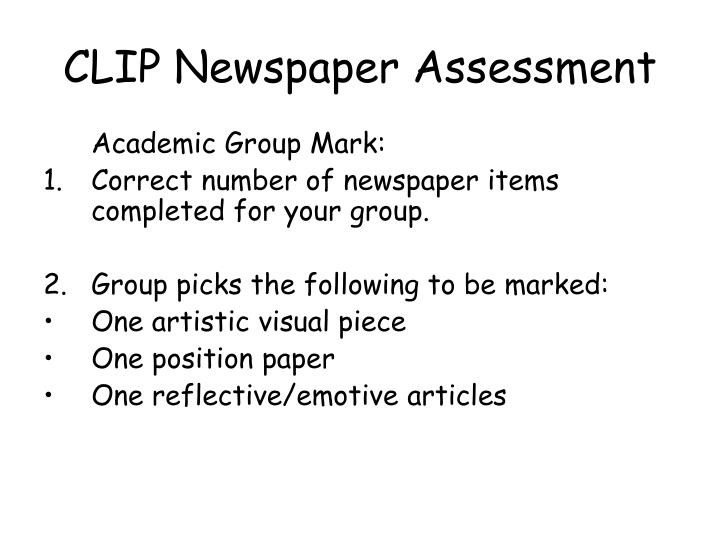 CLIP Newspaper Assessment