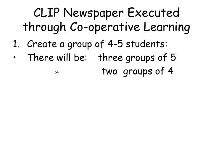 CLIP Newspaper Executed through Co-operative Learning
