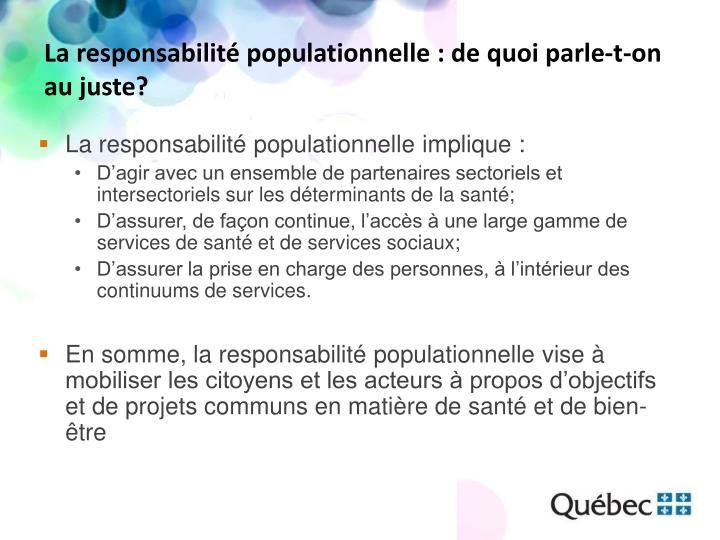 La responsabilité populationnelle : de