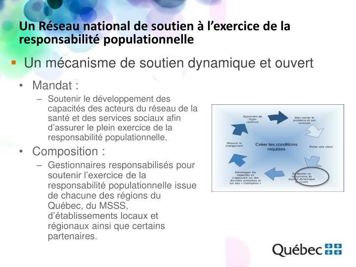 Un Réseau national de soutien à l'exercice de la responsabilité populationnelle