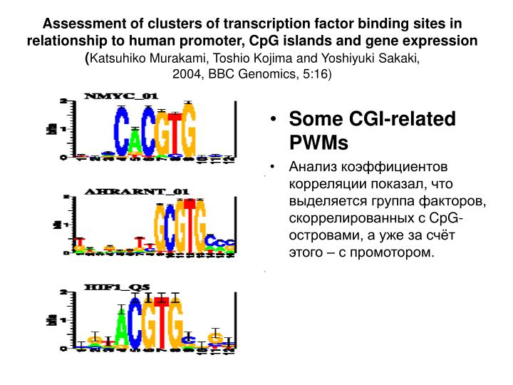 Assessment of clusters of transcription factor binding sites in