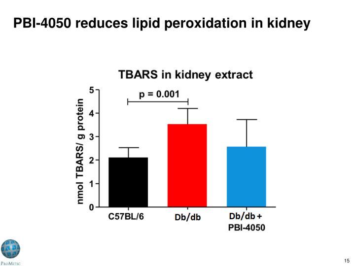PBI-4050 reduces lipid peroxidation in kidney