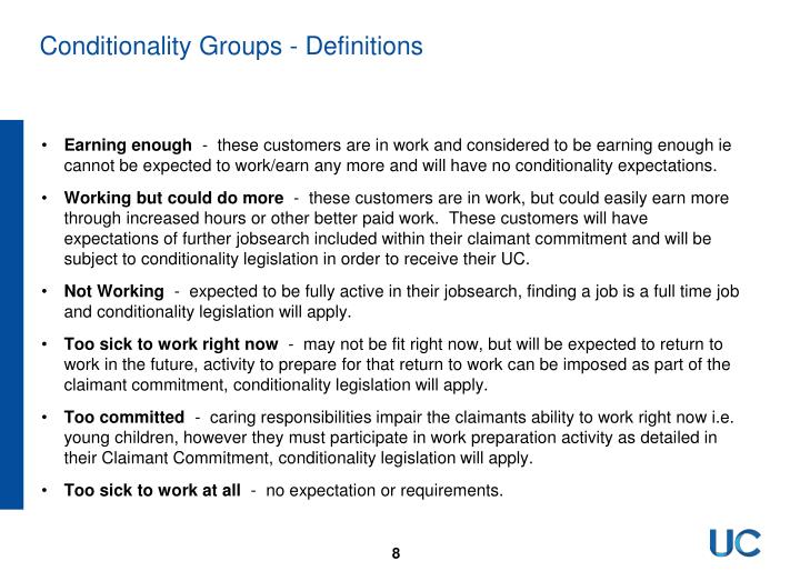 Conditionality Groups - Definitions