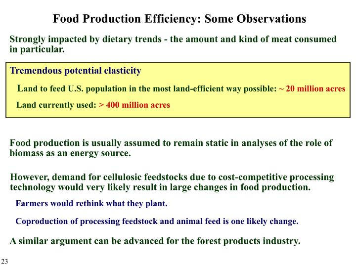 Food Production Efficiency: Some Observations