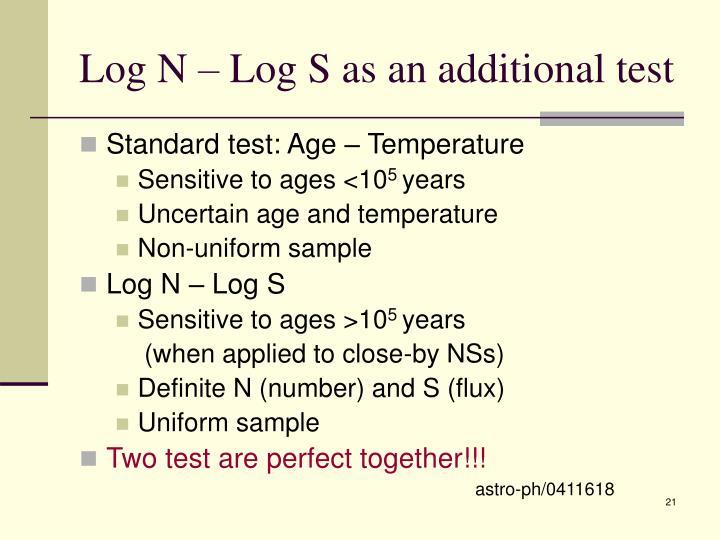 Log N – Log S as an additional test
