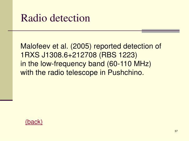 Radio detection