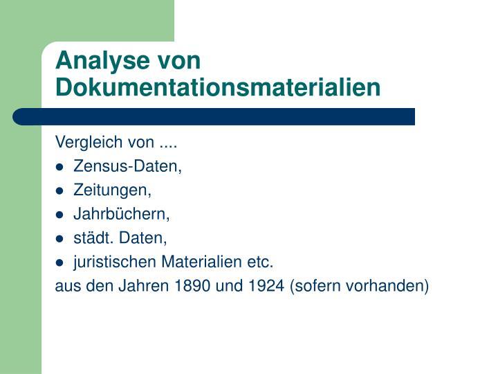 Analyse von Dokumentationsmaterialien