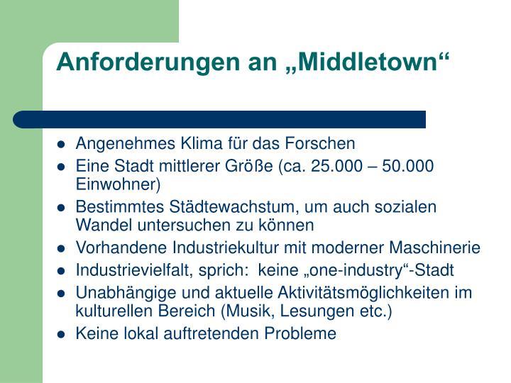 "Anforderungen an ""Middletown"""