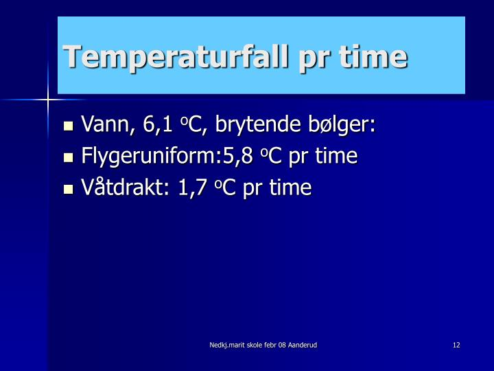 Temperaturfall pr time