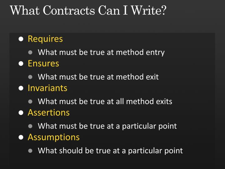 What Contracts Can I Write?