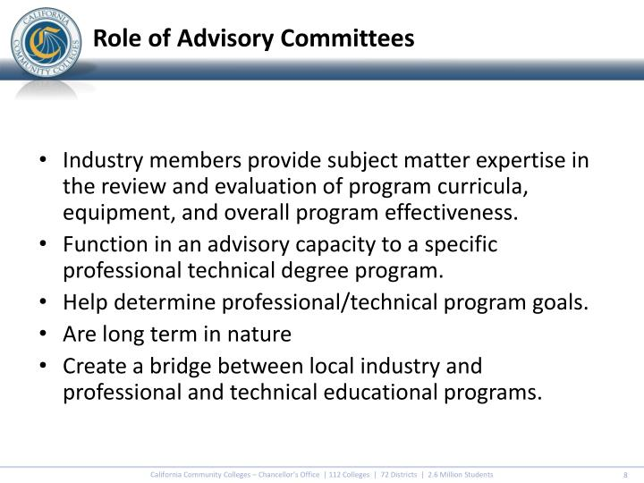 Role of Advisory Committees