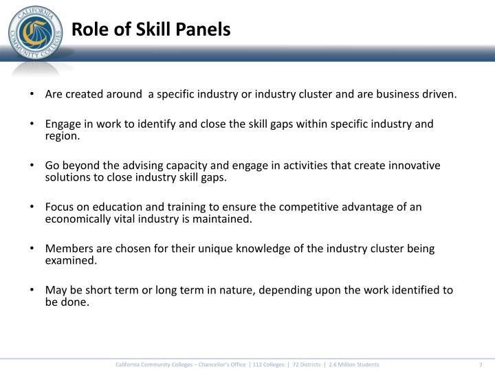 Role of Skill Panels