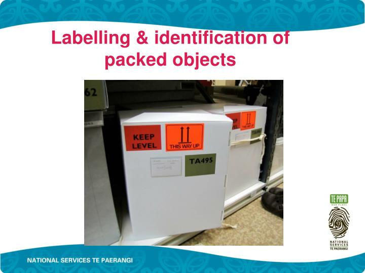 Labelling & identification of packed objects