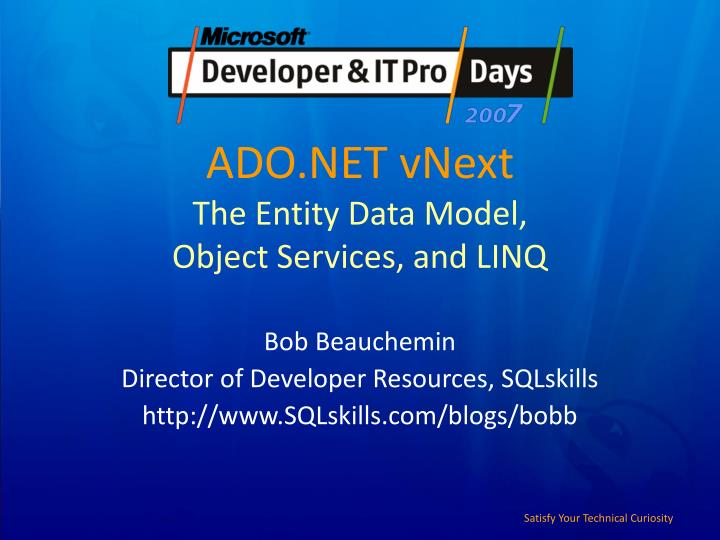 Ado net vnext the entity data model object services and linq