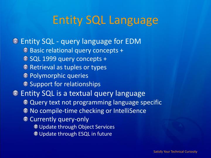 Entity SQL Language