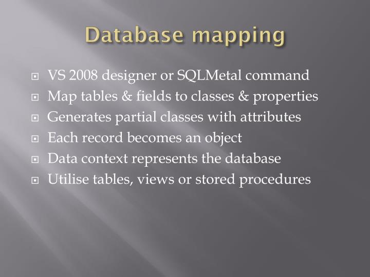 Database mapping