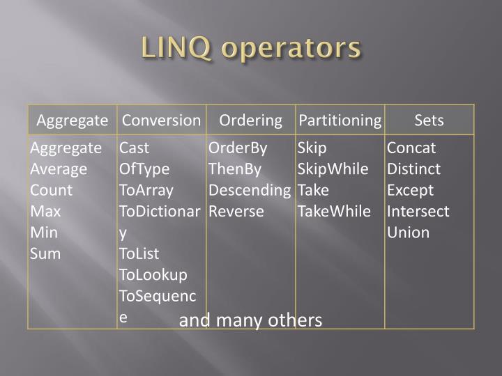 LINQ operators