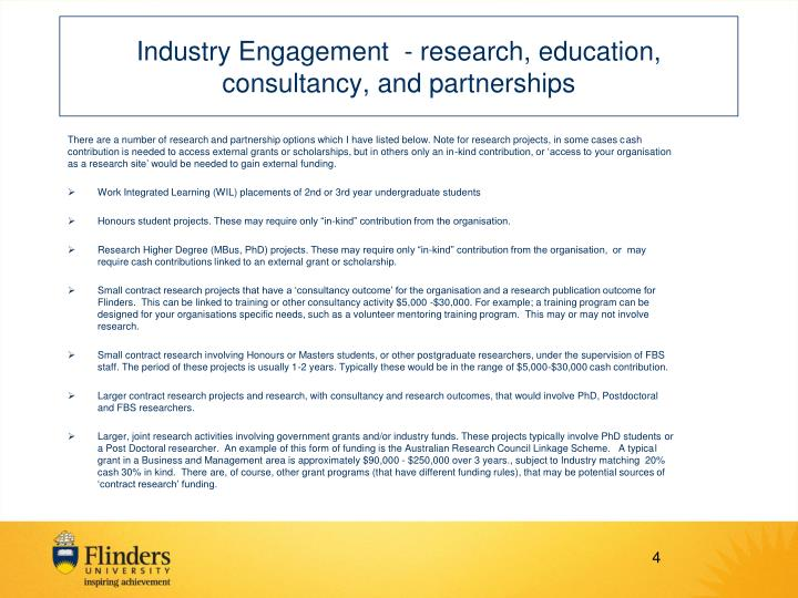 Industry Engagement - research, education, consultancy, and partnerships