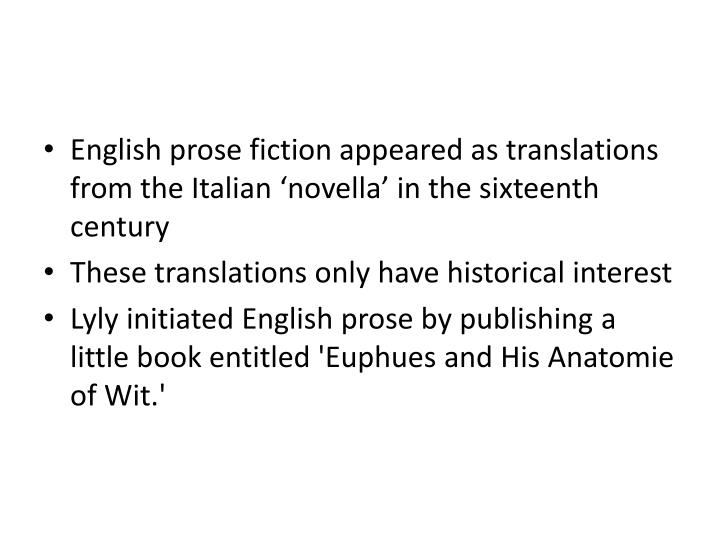 English prose fiction appeared as translations from the Italian 'novella' in the sixteenth century
