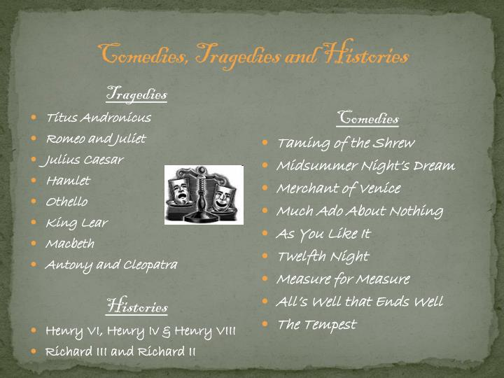 Comedies, Tragedies and Histories