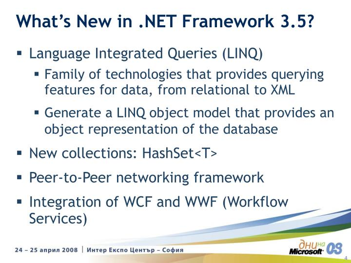 What's New in .NET Framework 3.5?