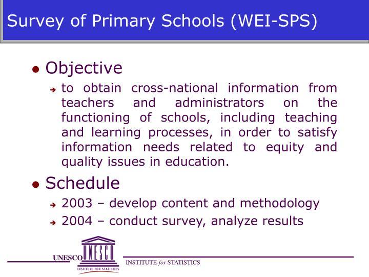 Survey of Primary Schools (WEI-SPS)
