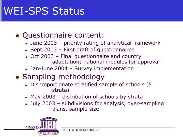 WEI-SPS Status