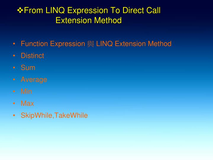 From LINQ Expression To Direct Call