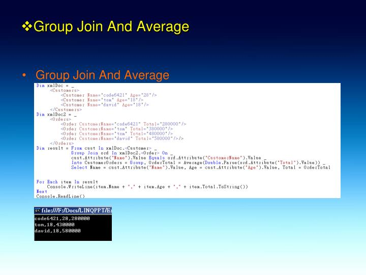 Group Join And Average
