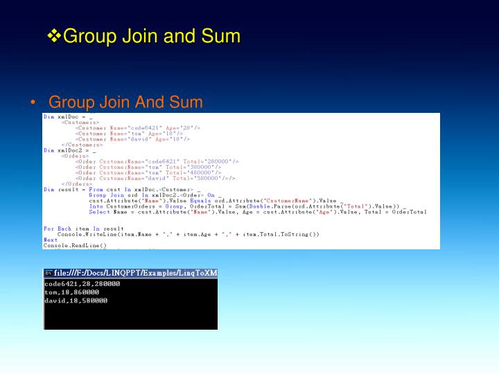 Group Join and Sum
