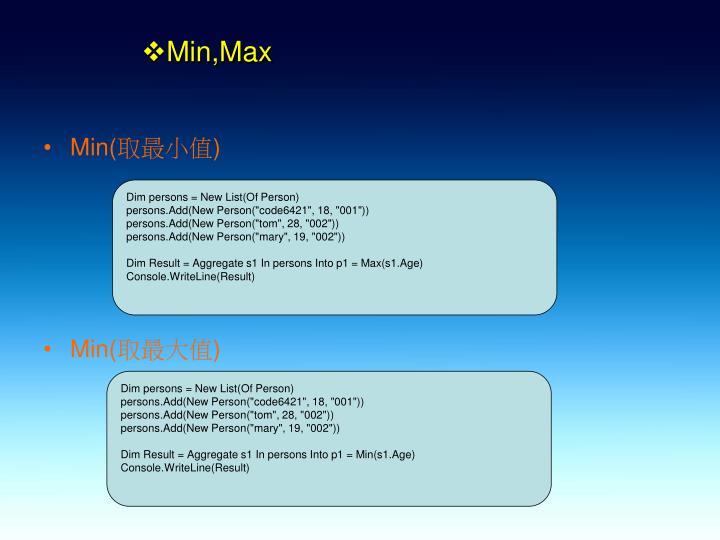 Min,Max