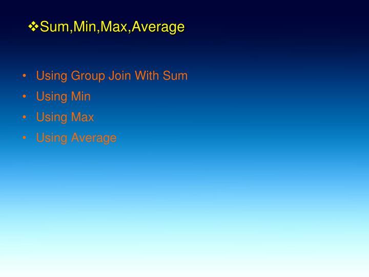 Sum,Min,Max,Average