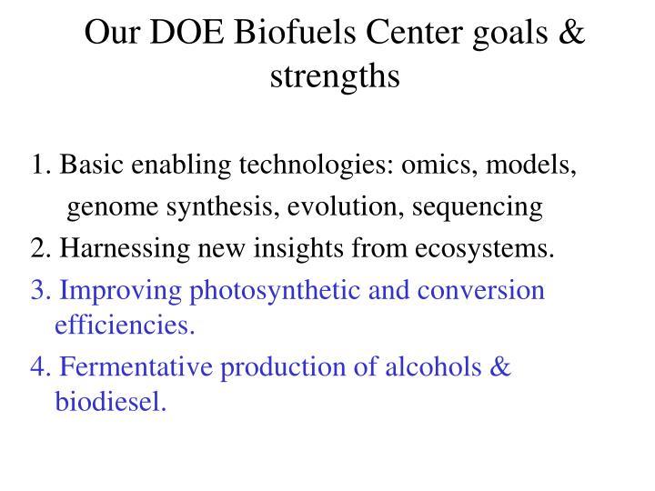 Our DOE Biofuels Center goals & strengths