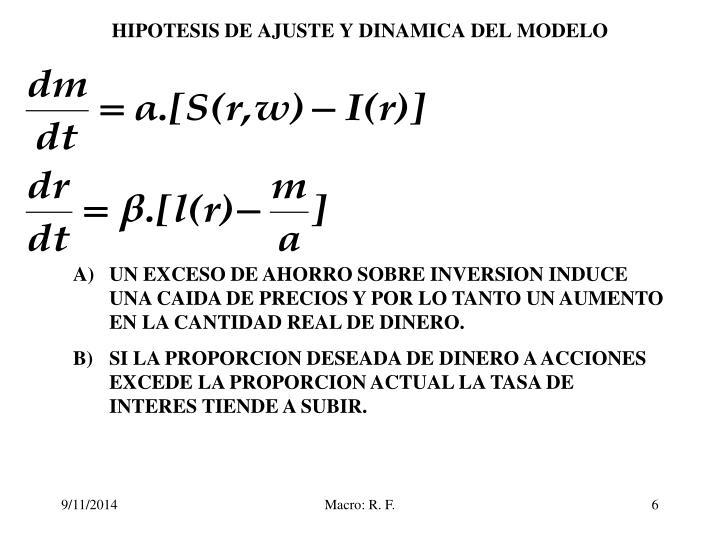 HIPOTESIS DE AJUSTE Y DINAMICA DEL MODELO