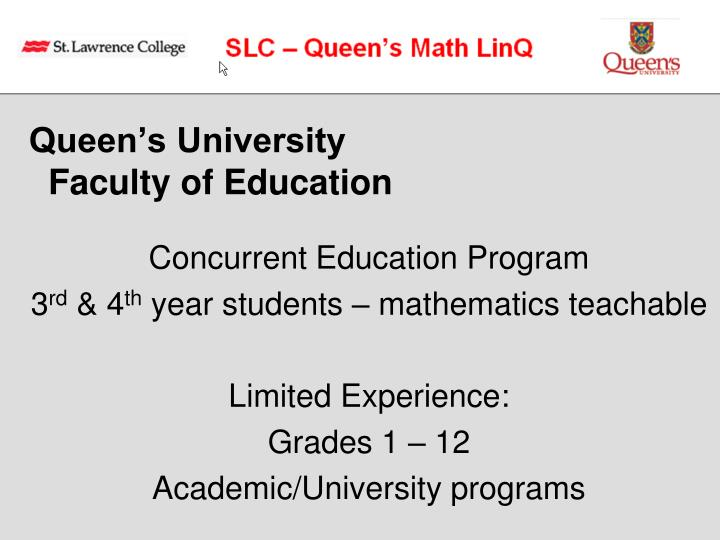 Queen s university faculty of education